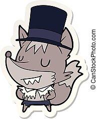 sticker of a cartoon posh werewolf