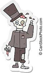 sticker of a cartoon posh zombie