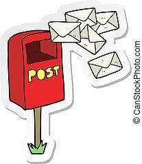 sticker of a cartoon post box