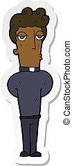 sticker of a cartoon priest