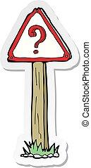 sticker of a cartoon question mark sign