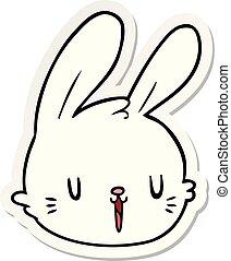 sticker of a cartoon rabbit face