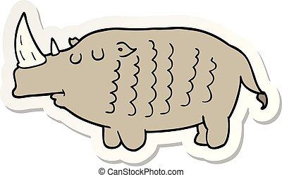 sticker of a cartoon rhinoceros