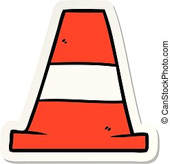 sticker of a cartoon road traffic cone