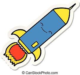 sticker of a cartoon rocket