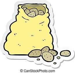 sticker of a cartoon sack of potatoes
