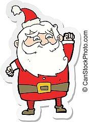 sticker of a cartoon santa claus