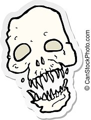 sticker of a cartoon scary skull