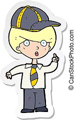 sticker of a cartoon school boy