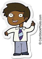sticker of a cartoon school boy with idea