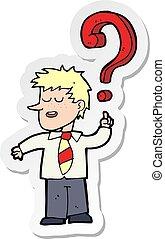 sticker of a cartoon school boy with question