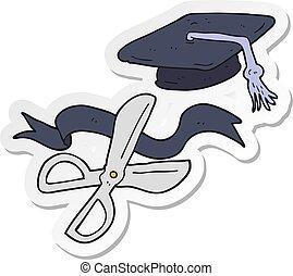 sticker of a cartoon scissors cutting ribbon at graduation