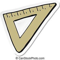 sticker of a cartoon set square