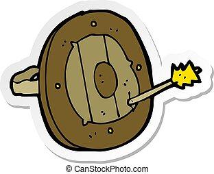 sticker of a cartoon shield with arrow