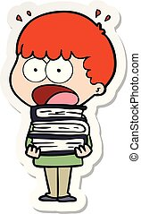 sticker of a cartoon shocked boy with stack of books