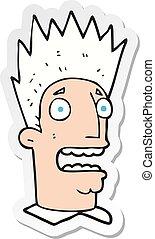 sticker of a cartoon shocked man