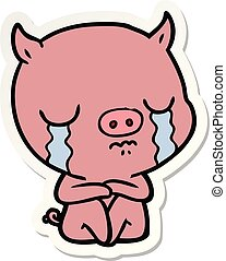 sticker of a cartoon sitting pig crying