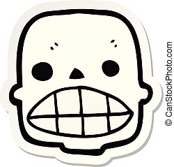 sticker of a cartoon skull