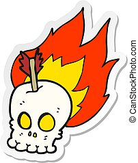 sticker of a cartoon skull with arrow