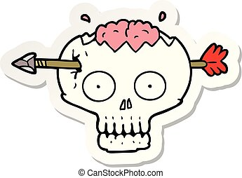 sticker of a cartoon skull with arrow through brain