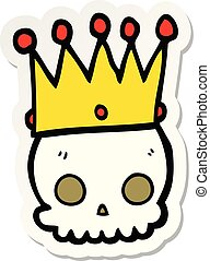sticker of a cartoon skull with crown