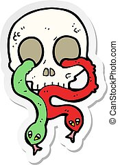 sticker of a cartoon skull with snakes