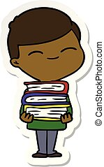 sticker of a cartoon smiling boy with stack of books