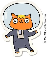 sticker of a cartoon space cat