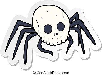 sticker of a cartoon spooky halloween skull spider
