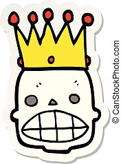 sticker of a cartoon spooky skull face with crown