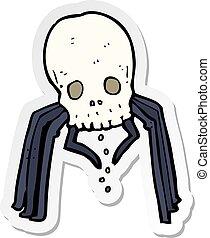 sticker of a cartoon spooky skull spider