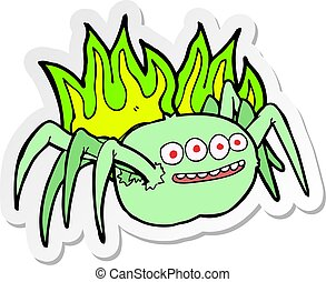 sticker of a cartoon spooky spider