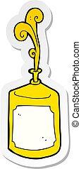 sticker of a cartoon squirting mustard bottle