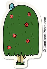 sticker of a cartoon tall tree