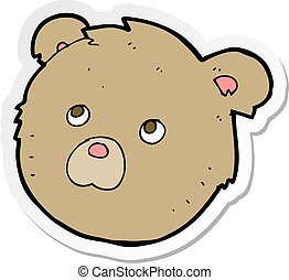 sticker of a cartoon teddy bear face