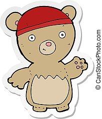 sticker of a cartoon teddy bear wearing hat