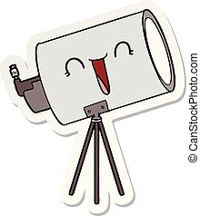 sticker of a cartoon telescope with face