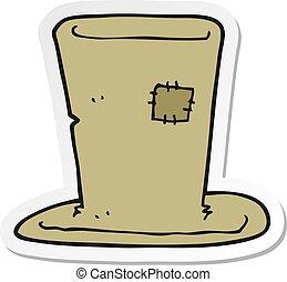 sticker of a cartoon tramp top hat