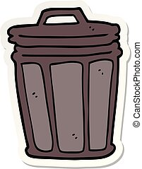 sticker of a cartoon trash can