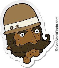 sticker of a cartoon victorian big game hunter