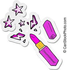 sticker of a cartoon vivid lipstick