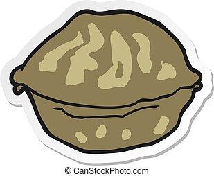 sticker of a cartoon walnut in shell