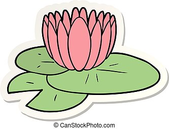 sticker of a cartoon water lily