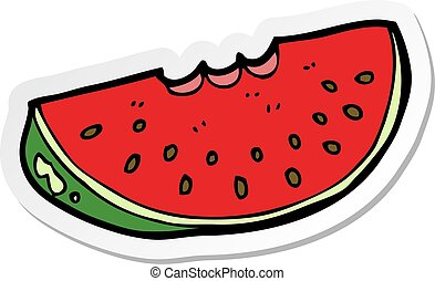 sticker of a cartoon watermelon slice