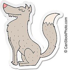 sticker of a cartoon wolf