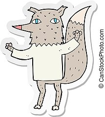 sticker of a cartoon wolf
