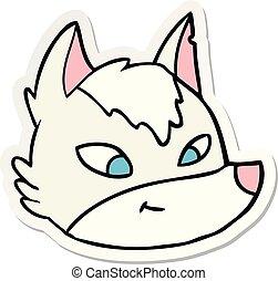 sticker of a cartoon wolf face