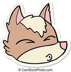 sticker of a cartoon wolf face whistling