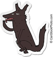 sticker of a cartoon wolf licking paw