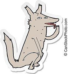sticker of a cartoon wolf licking paw